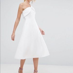 ASOS White Asymmetric Shoulder A-line Midi Dress 6